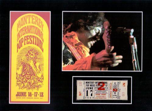 Monterey Popfestival – Repligraph Hier handelt es sich um die Replik einer original Tickets zum legendären Pop Festival in Monterey vom 17.06.1967 mit Foto und Abbildung des Konzertplakates und JIMI HENDRIX. www.starcollector.de