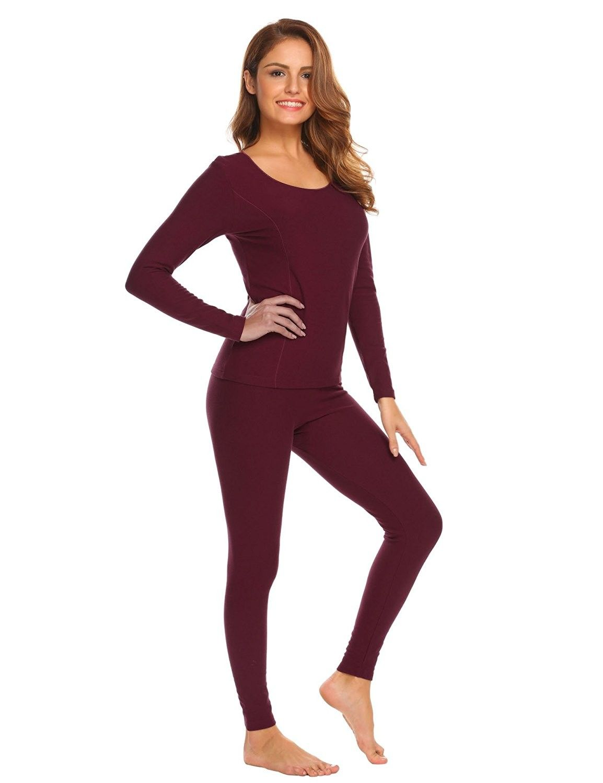 1942cbaf78a Women s Cotton Thermal Underwear Long Johns Winter Set Fleece Lined S-XXXL  - Wine Red - C2187ILNGK8
