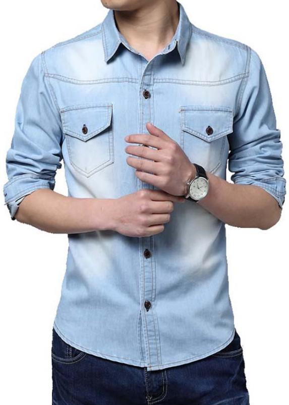 09aac9761fd4 Light Blue Quality Jeans Shirt MR8751
