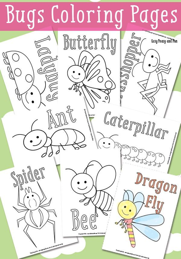 Little Bugs Coloring Pages For Kids Easy Peasy And Fun Insect Coloring Pages Bugs Preschool Insects Preschool