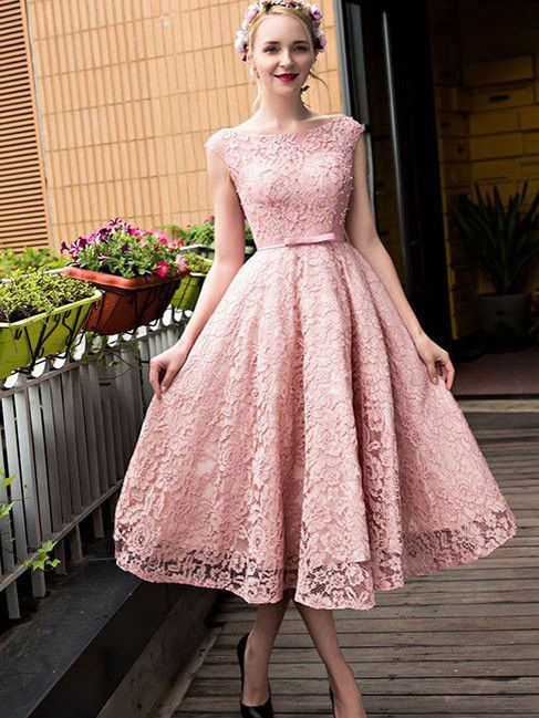 2017 Homecoming Dress Lace-up Bowknot Tea-length Short Prom Dress ...