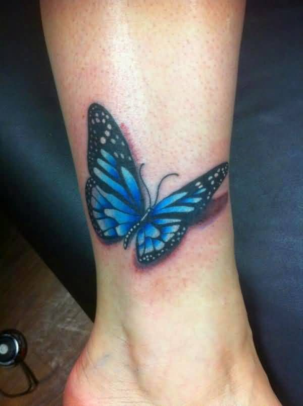 3d Realistic Blue Butterfly Tattoo On Ankle Blue Butterfly Tattoo Butterfly Tattoo 3d Butterfly Tattoo