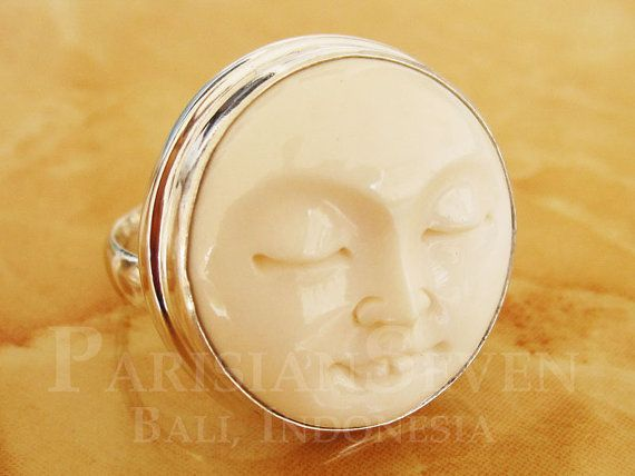 Moon Face Cow Bone Carving Bali Sterling Silver 925 Ring Adjustable Size 6 7 8 9 10 M224 Bone Carving Bali Sterling Silver Cow Bones