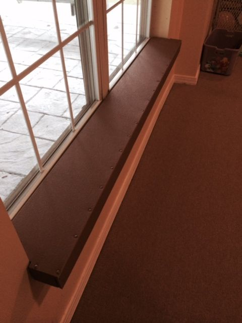 Baby Proof/Child proof your Fireplace with our Fireplace Hearth Guard Pad-a recent after picture of a window sill with our Guard providing the needed protection for your child