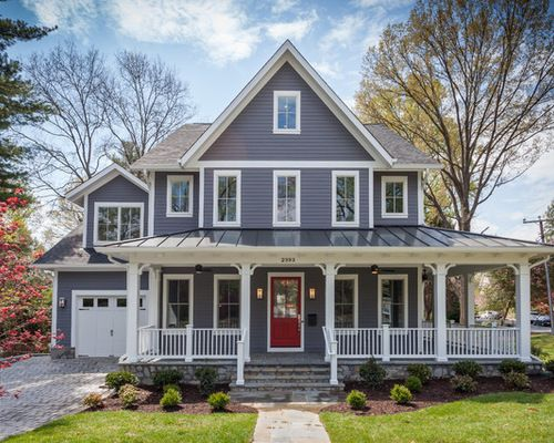 Gray with white hardie board ideas farm house exterior - Country style exterior house colors ...