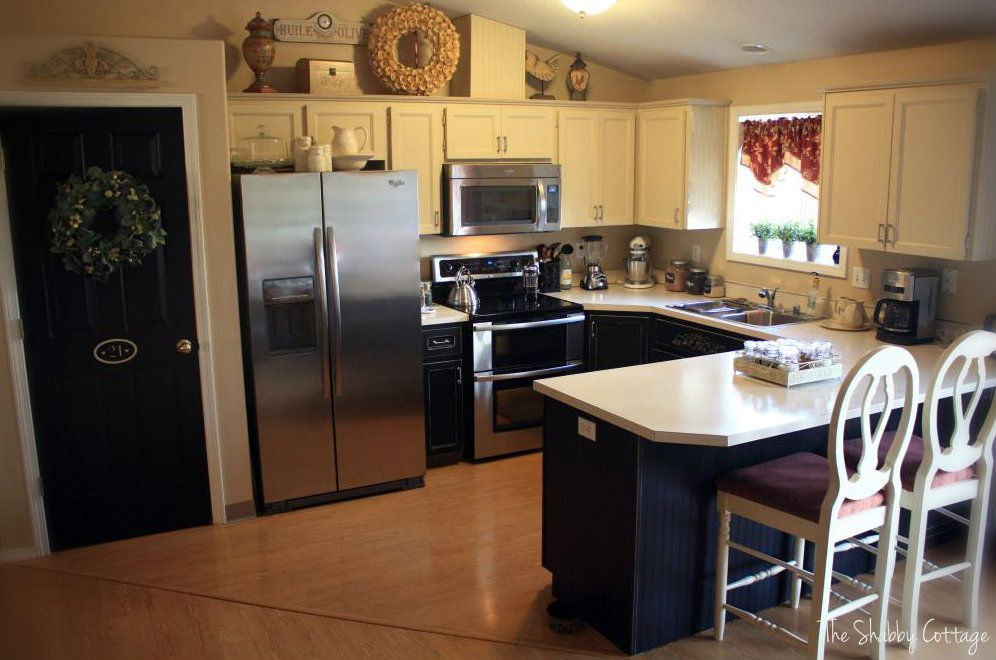The Shabby Cottage Home Kitchen Cabinets Makeover Painting Black Bottoms And White Top