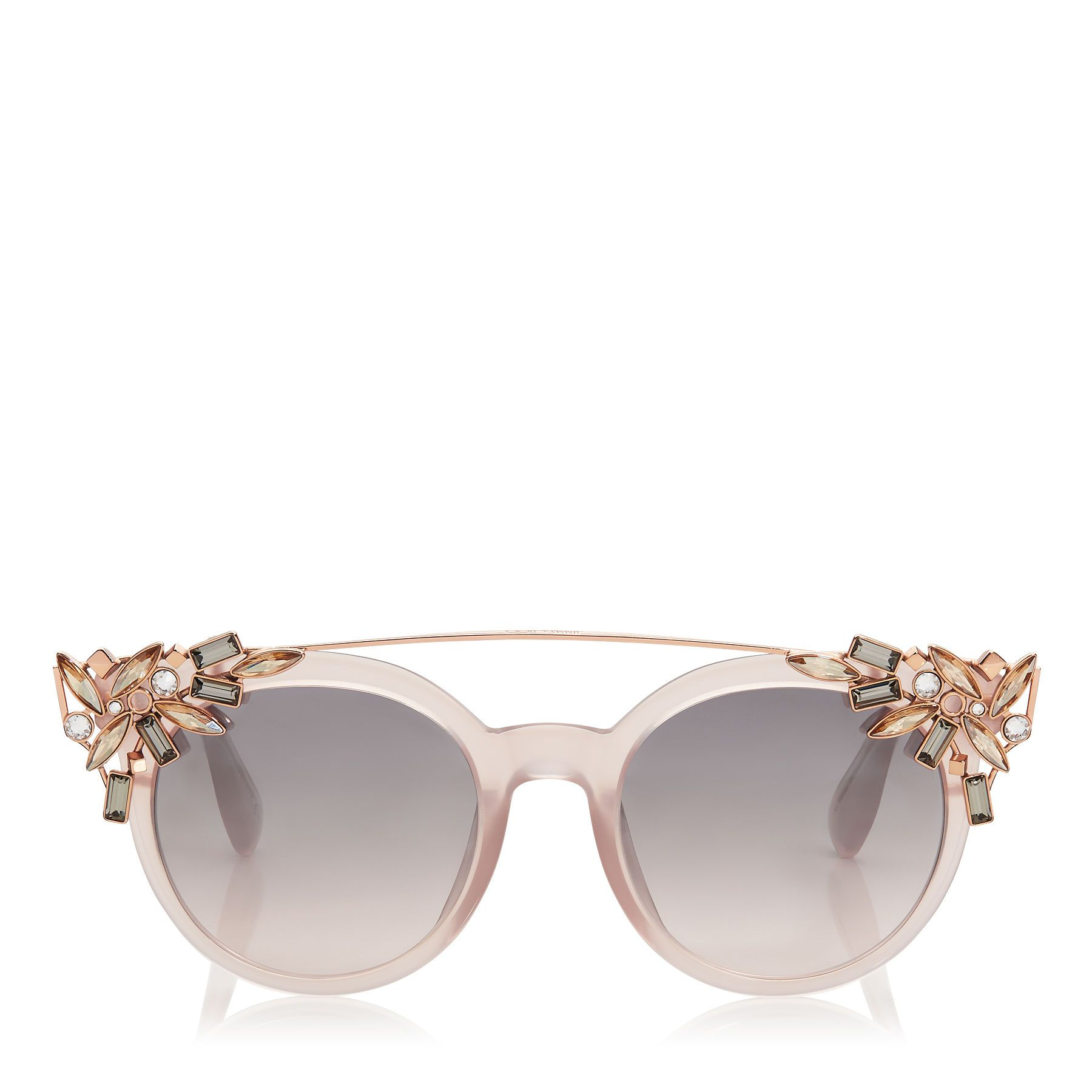 Jimmy Choo, VIVY. Pink Round Framed Sunglasses with Detachable Jewel Clip On 6b1fcb2c97