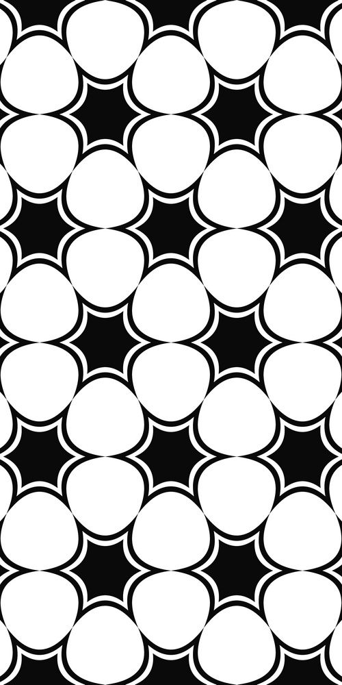 Repeating Black And White Hexagonal Abstract Star Pattern Design