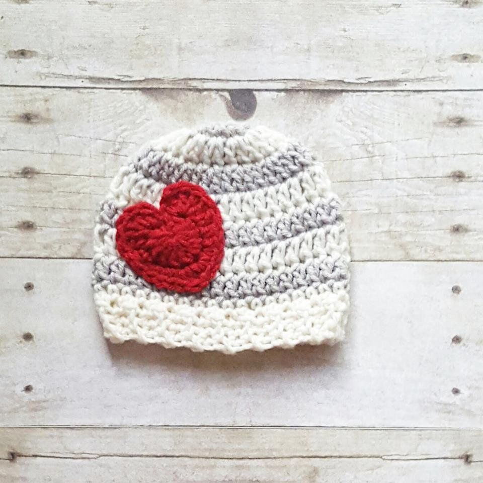 731d4c7b07e Crochet Striped Heart Beanie Hat Infant Newborn Baby Child Adult Handmade  Photography Photo Prop Baby Shower Gift Present Valentine s Day