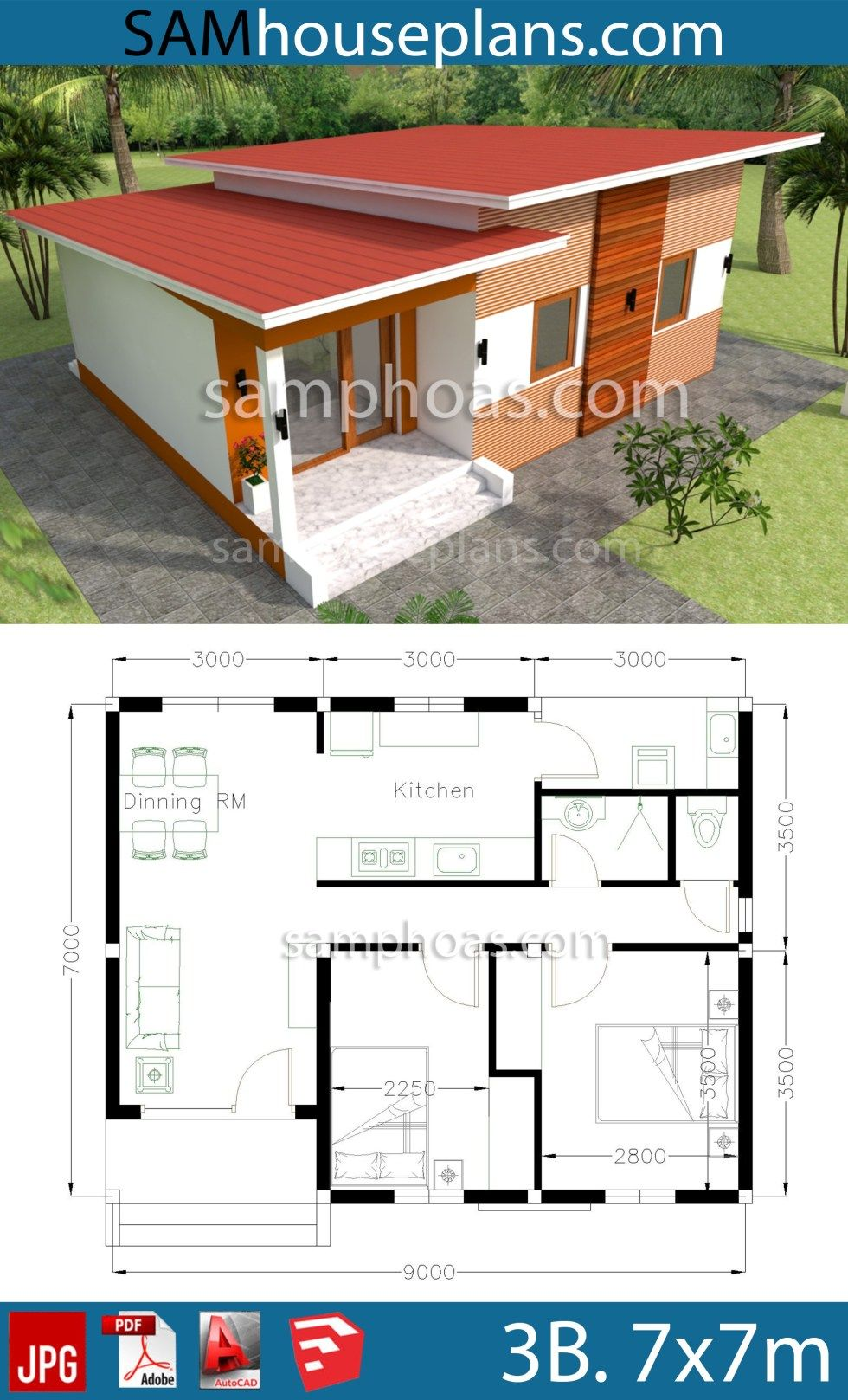 House Plans 9x7m With 2 Bedrooms In 2020 My House Plans House