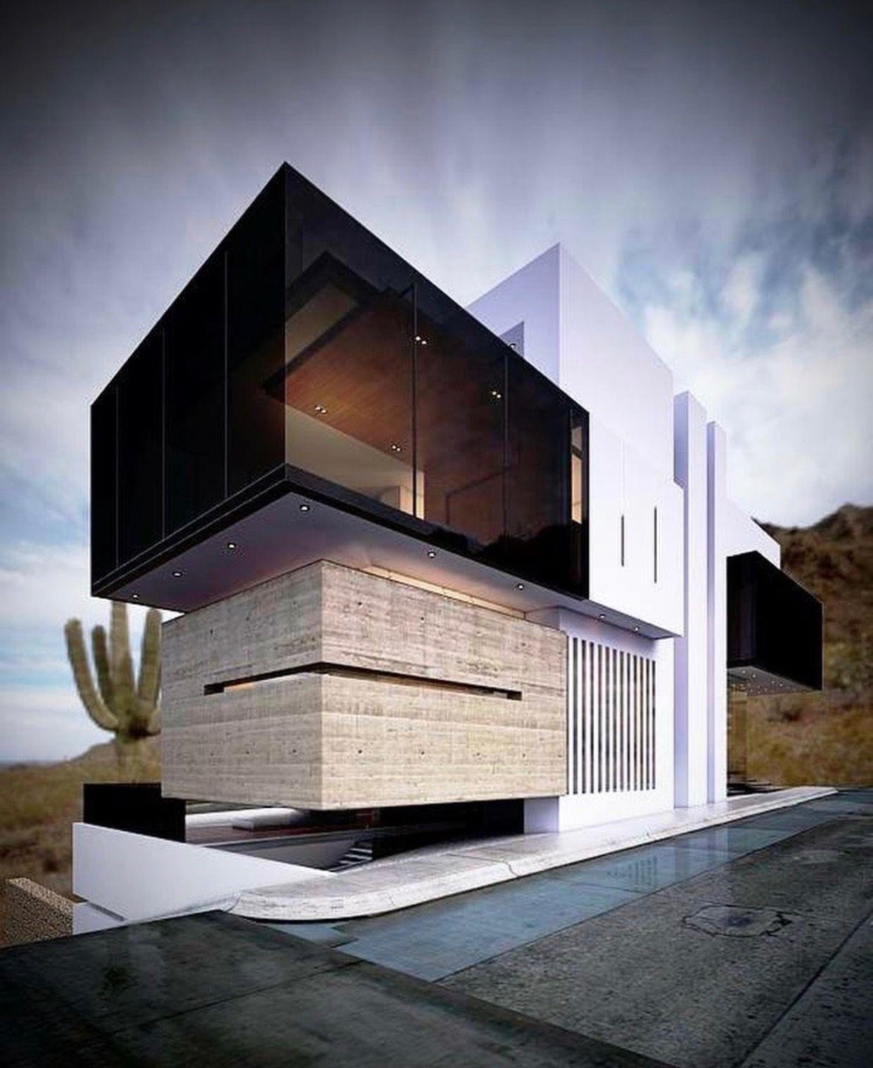Movimiento de volumenes y materiales continente for Galerias casas minimalistas