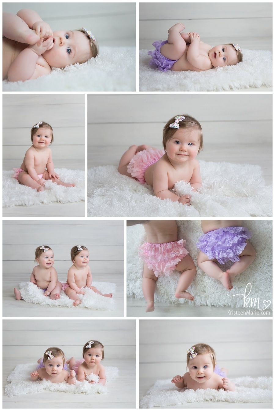 Twin 6 month old girls twin girls photography