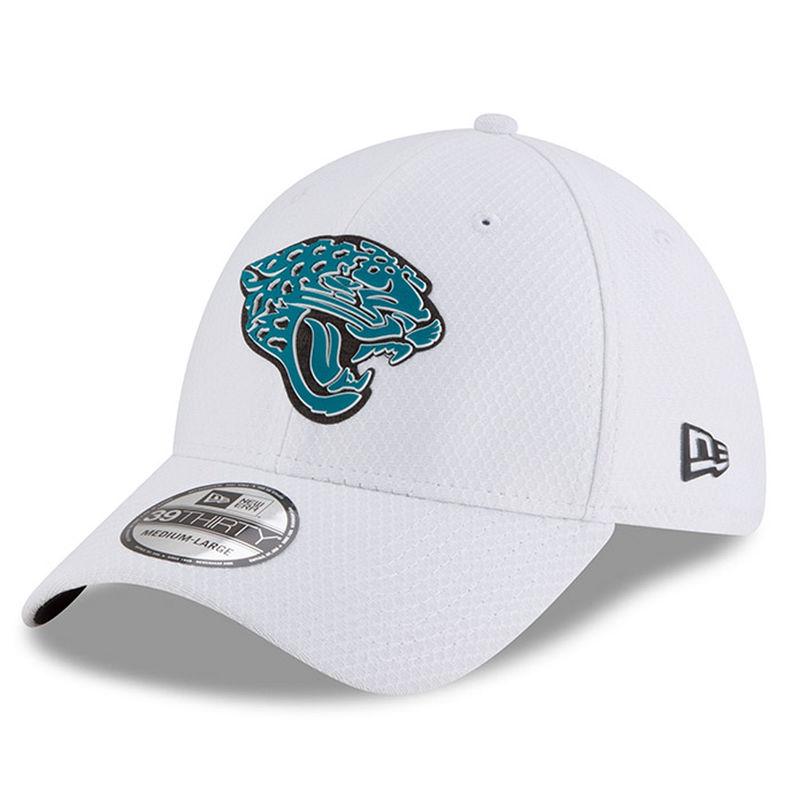 Jacksonville Jaguars New Era 2018 Training Camp 39THIRTY Flex Hat – White c12f2d5638d