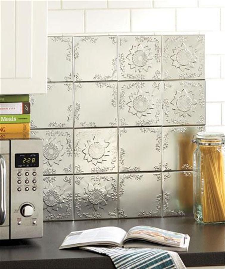 16 PIECE SELF ADHESIVE EMBOSSED RAISED PATTERN TIN WALL BACKSPLASH TILES 4  SQ.