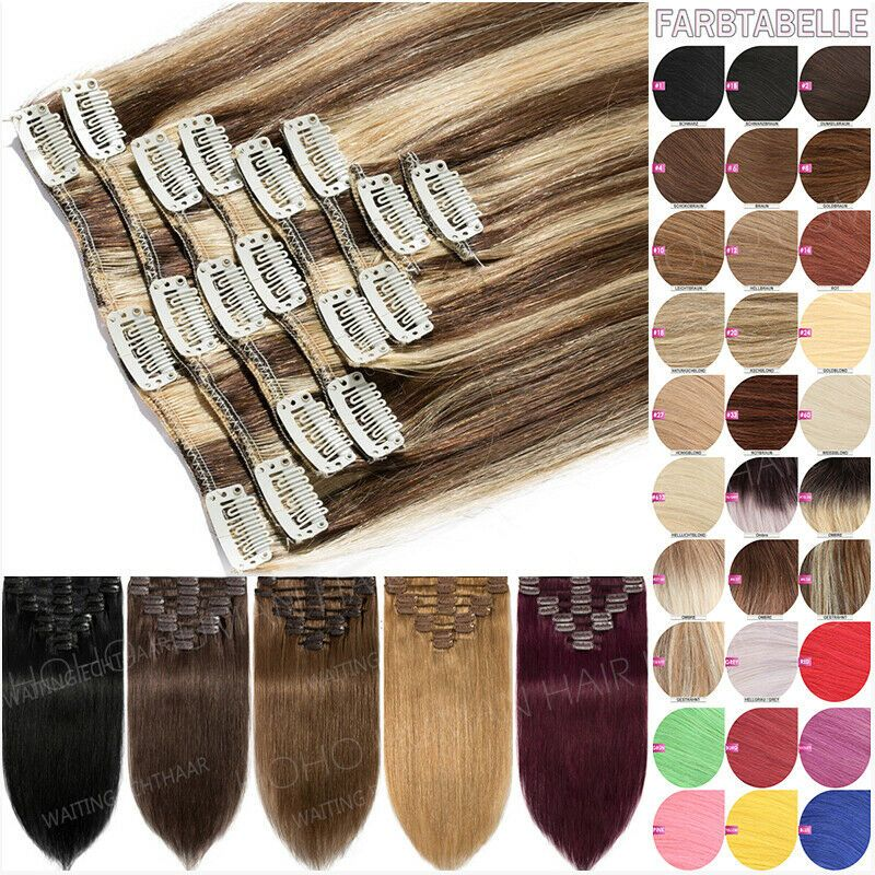 8inch 24inch Clip In Remy Real Human Hair Extensions 8 Pieces Full