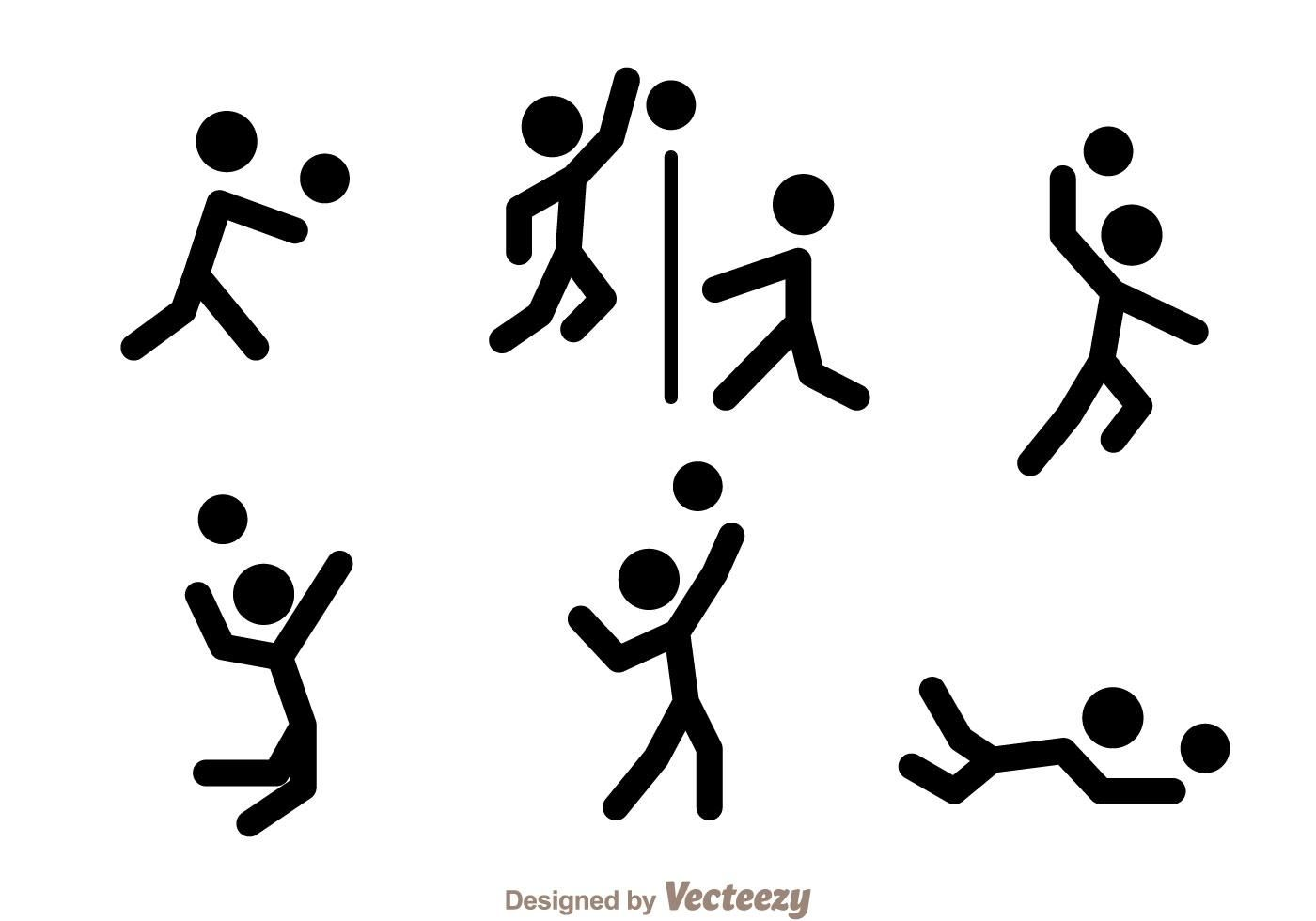 Volleyball Stick Figure Vector Icons Stick Figures Stick Figure Tattoo Vector Icons