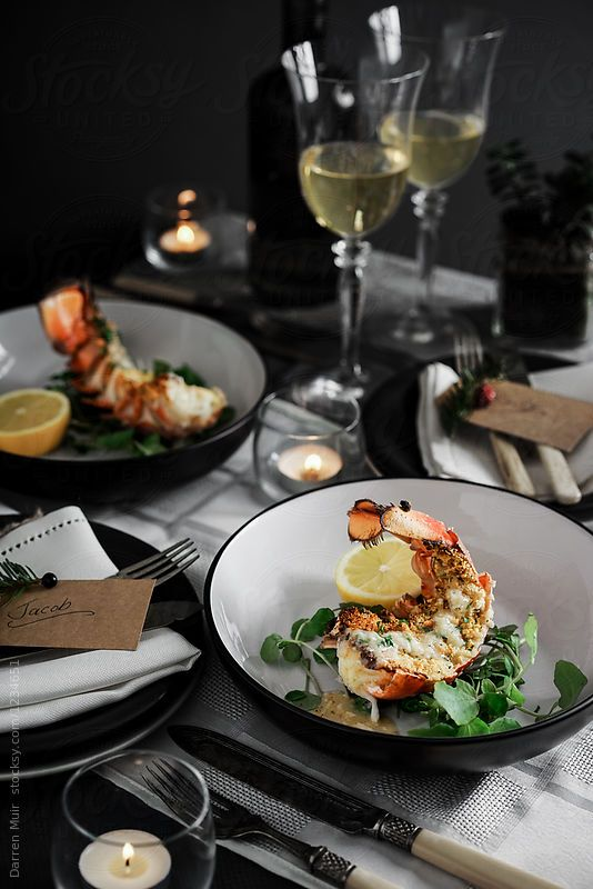 Lobster Thermidor In Bowls On A Table With Wine By Darren Muir For Stocksy United Photographing Food Fine Dining Recipes Food Photo