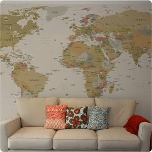 Removable world map wallpaper shown in antique httpwww removable world map wallpaper shown in antique httpthewallstickercompany gumiabroncs Choice Image