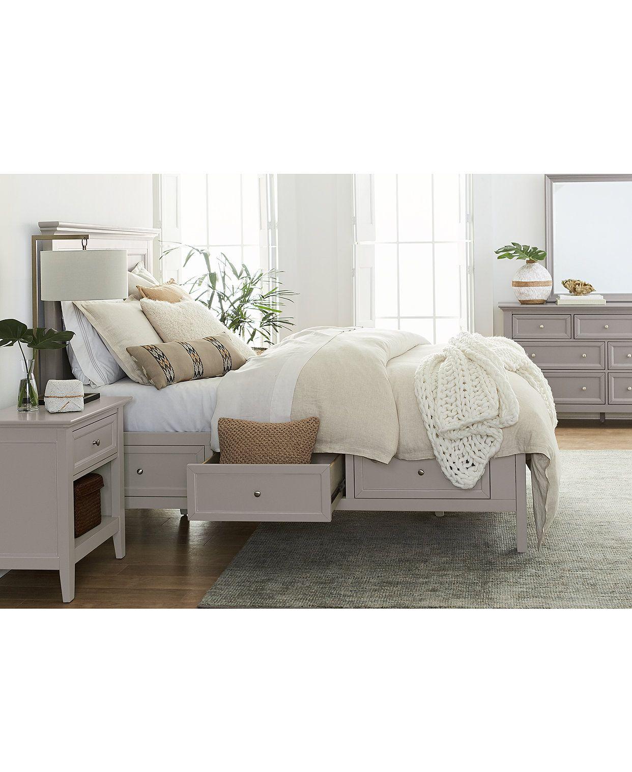 Furniture Sanibel Storage Bedroom Furniture 3 Pc Set Queen Bed Nightstand And Dresser Created For Macy S Reviews Furniture Macy S In 2020 Bedroom Furniture Sets White Wood Bedroom Furniture Furniture