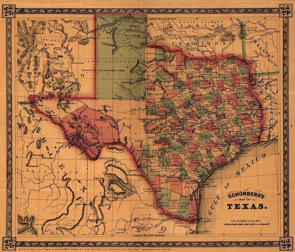 Details about Map of Texas 1866 Antique State Map Rolled Canvas ...