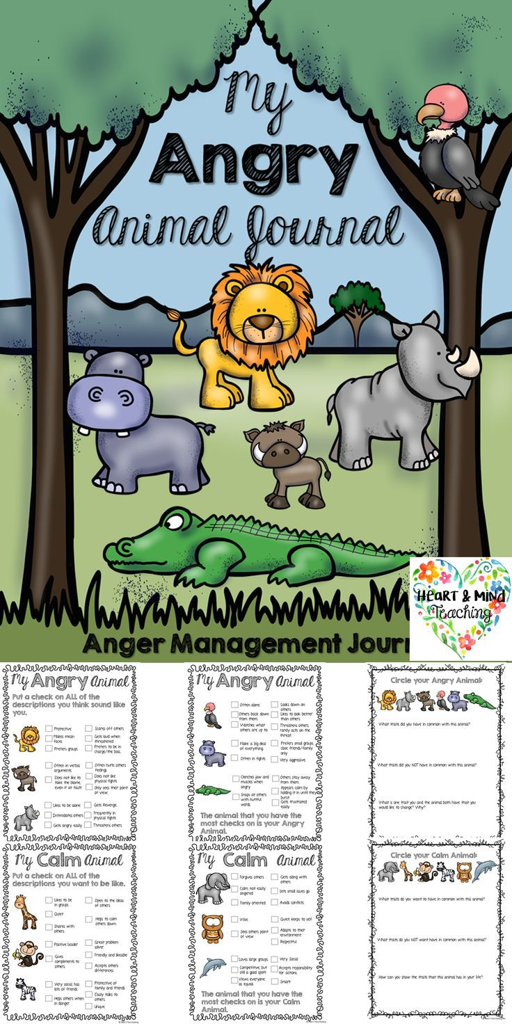 My ANGRY Animal Journal; Anger Management workbook; SEL | Anger ...
