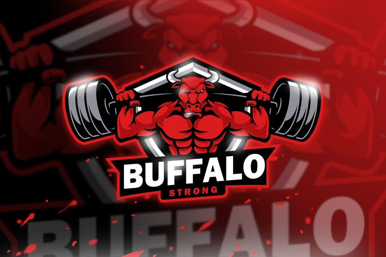 buffalo strong mascot esport logo template ai eps logo