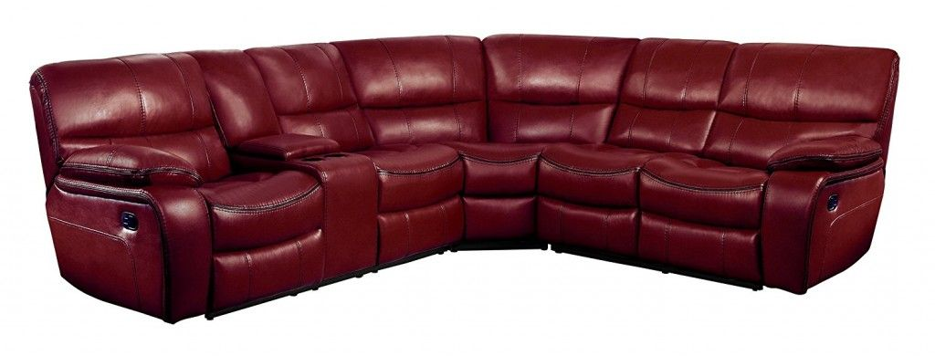 Red Leather Sectional Couch Sofa With Recliner Reclining