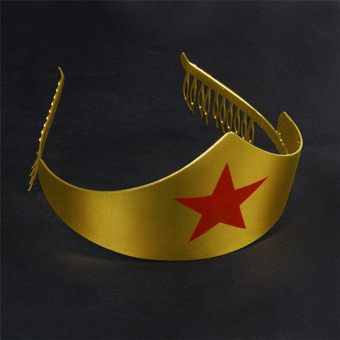 Wonder Woman Crown Golden Tiara with Red Gem Star DC Comics Costume Accessory