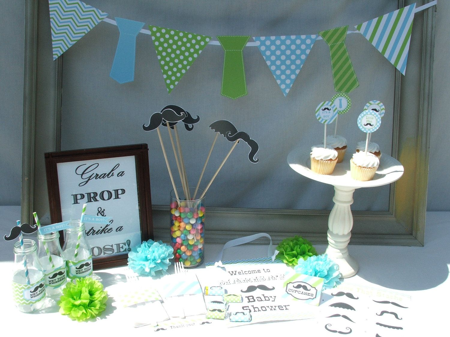 Baby Boy Shower Decorations Part - 50: Boy Baby Shower Decorations Mustache Little Man Vintage Printable Pdf  Package. $20.00, Via Etsy. | Baby Shower | Pinterest | Baby Shower  Decorations, Boy ...