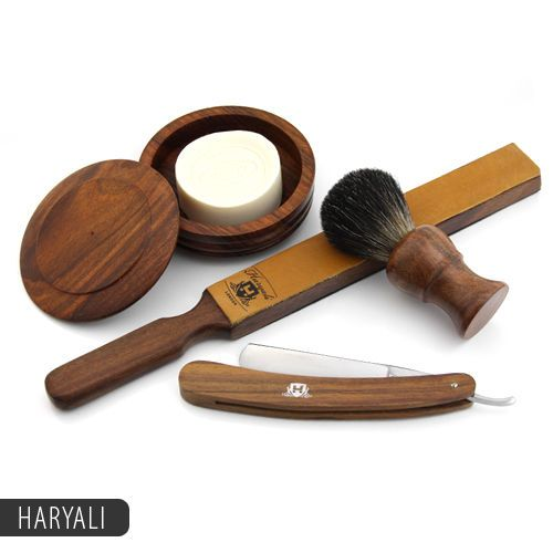 Classic Cut Throat Straight Shaving Razor Brush Shave Soap With Wooden Bowl