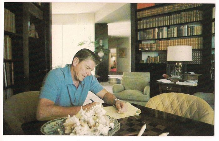 Reagan In The Study Of His Pacific Palisades Home History Gift Vintage Postcard President Gifts