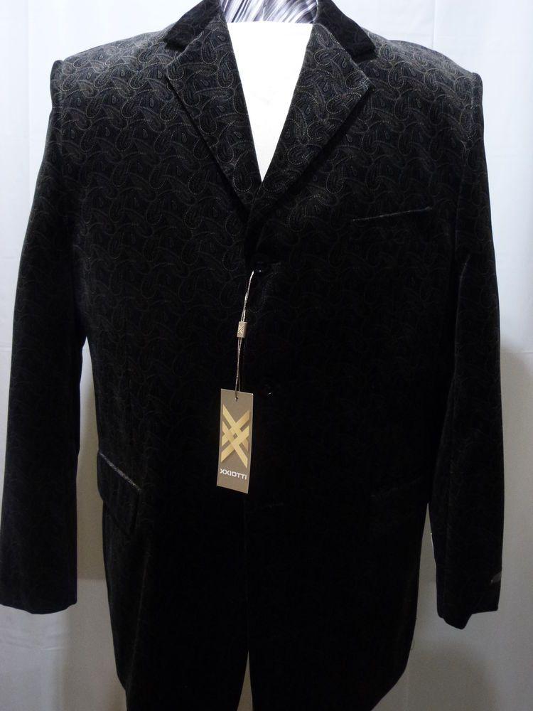 Details about Men's Paisley Velvet Sport Coat, Black, 46R
