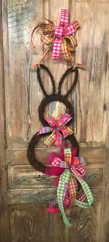 Easter wreath bunny door hanger easter bunny door hunger