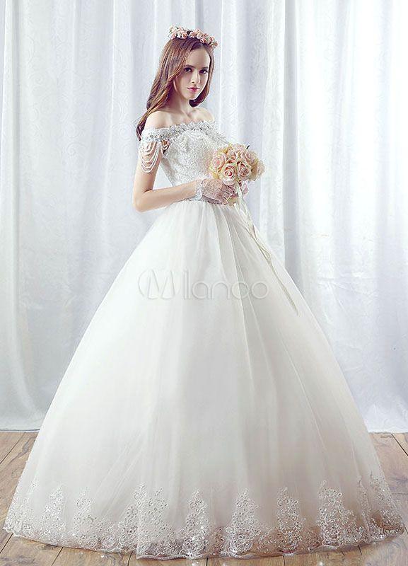 Brautkleid Ball Stil schulterfrei weiße Prinzessin Brautkleid