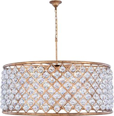 Pendant Madison 10 Light Golden Iron Silver Shade Gray Crystal