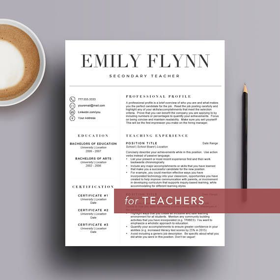 Teacher resume template for Word and Pages (1, 2 and 3 page resume - resume 1 or 2 pages
