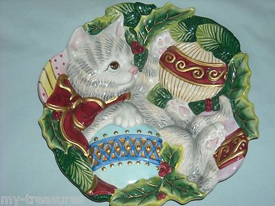 Fitz  Floyd CHRISTMAS CAT Plate Kitty Kristmas Canape Tray Platter