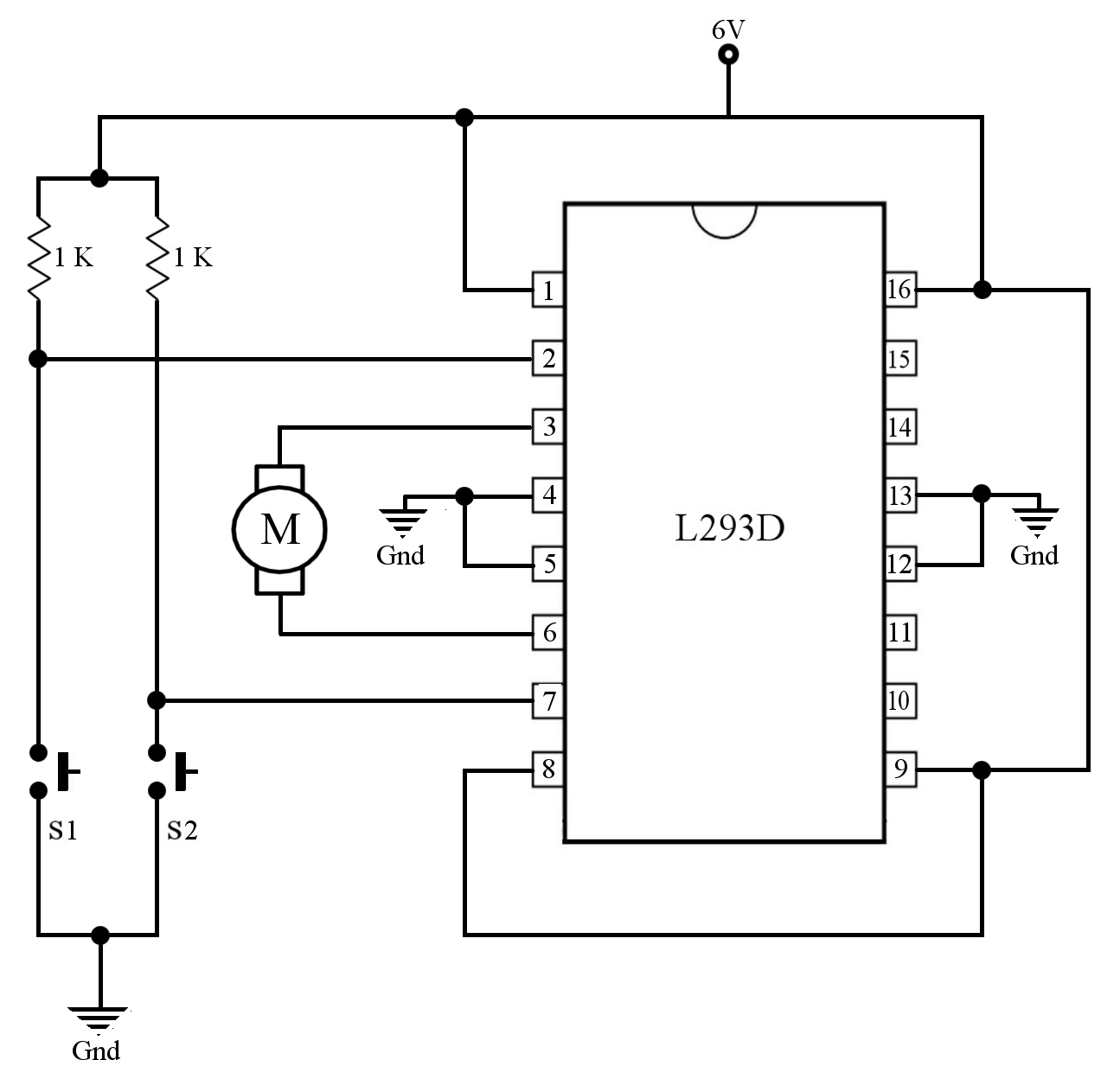 control the direction of rotation of a 6v dc motor using l293d and control the direction of rotation of a 6v dc motor using l293d and press button switches