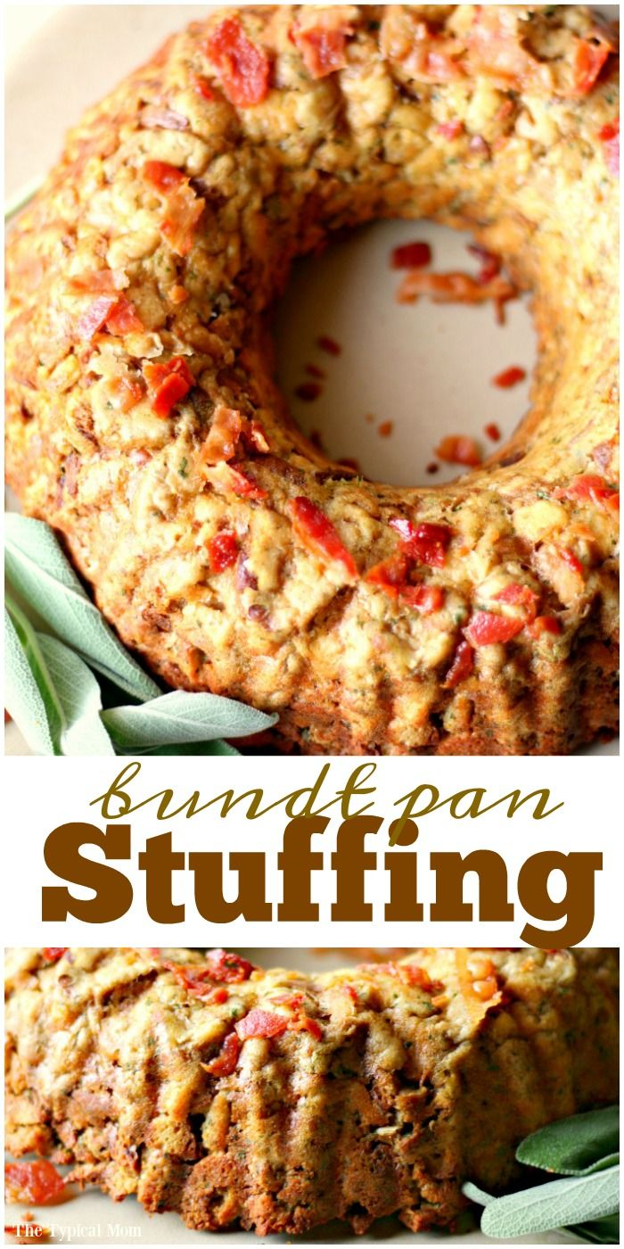 Bundt pan stuffing is amazing and a pretty way to serve this side dish for Thanksgiving or Christmas time. Here's the easy recipe so you can try it. via @thetypicalmom