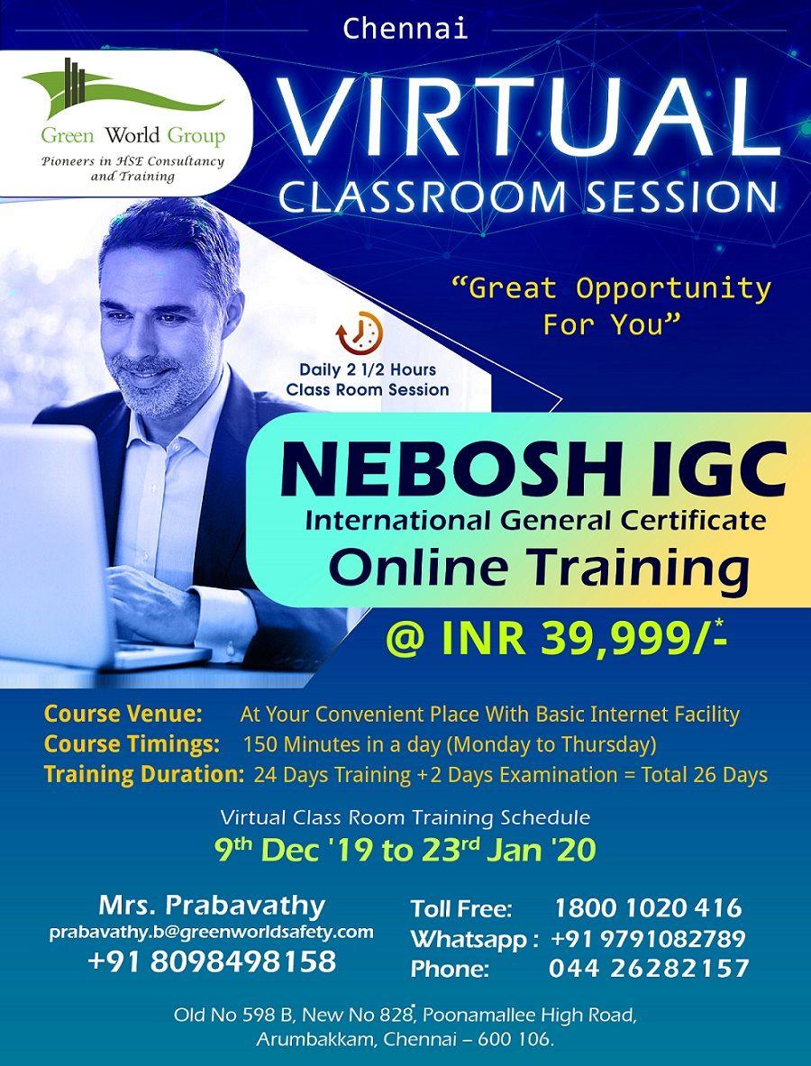 NEBOSH Course in Chennai Classroom training, Virtual