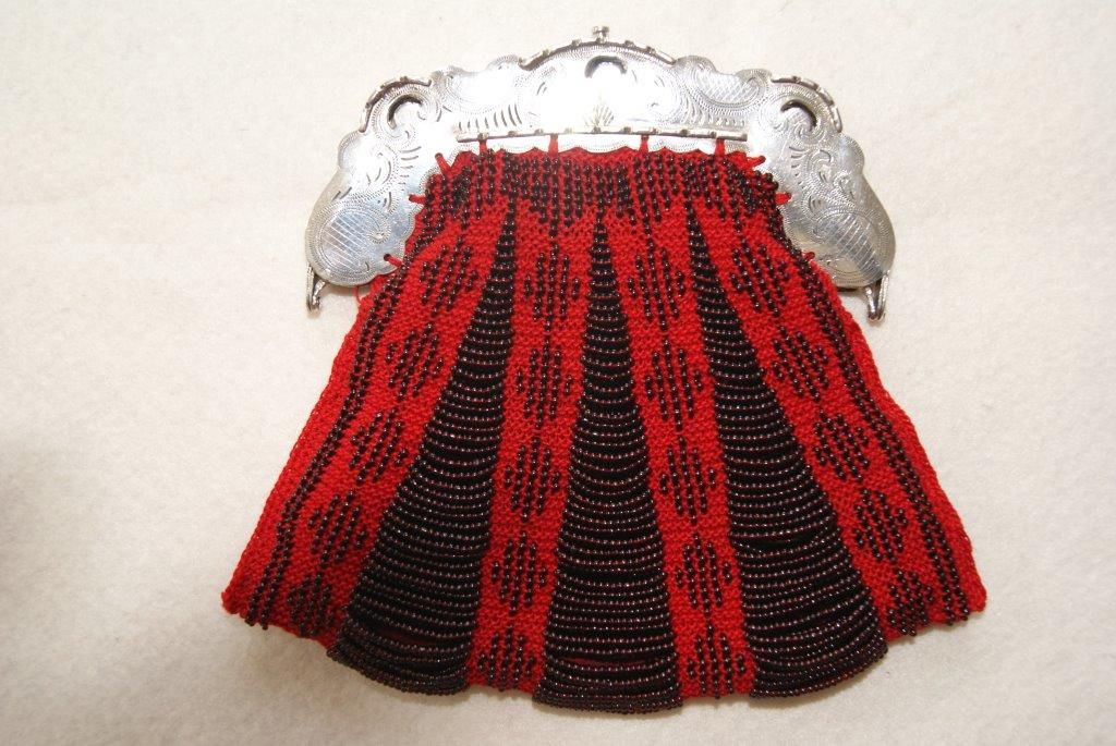 Knitted with two needles,  with antique beads Antique  Silver frame.