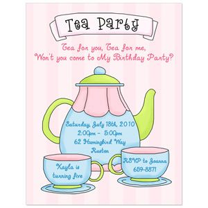Birthday Party Invitations Wording On Tea Party Invitation For A