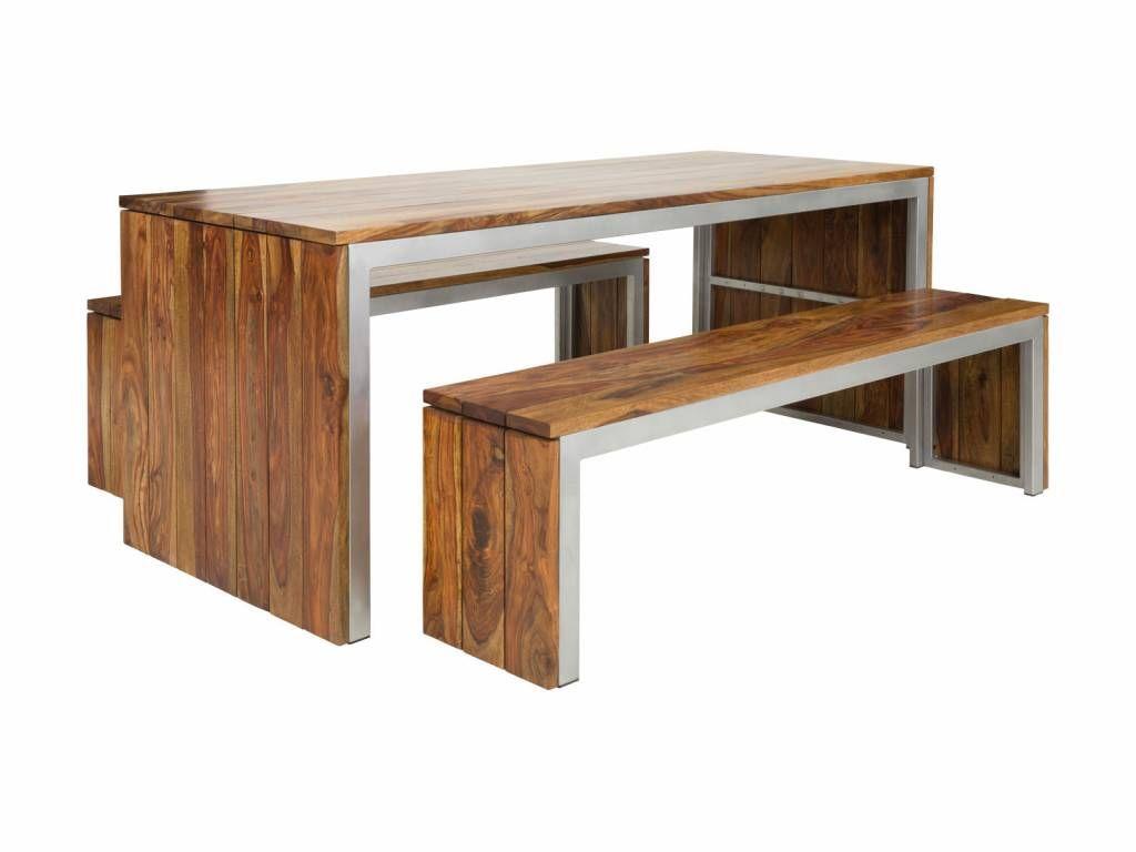 Holz Tisch 2 Bänke platzsparend Herbstlicher esstisch