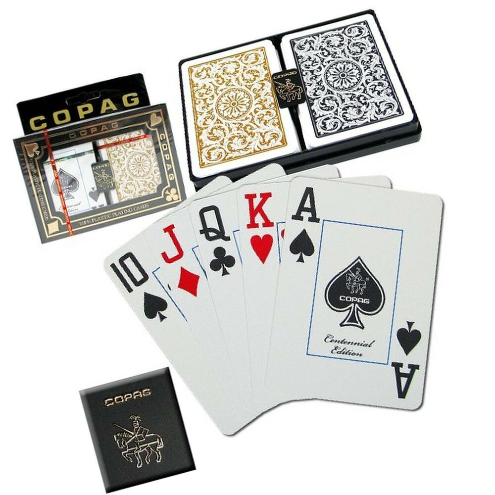 Standard Index Set of 2 Black /& Gold Premium Plastic Playing Cards Poker Size Deck