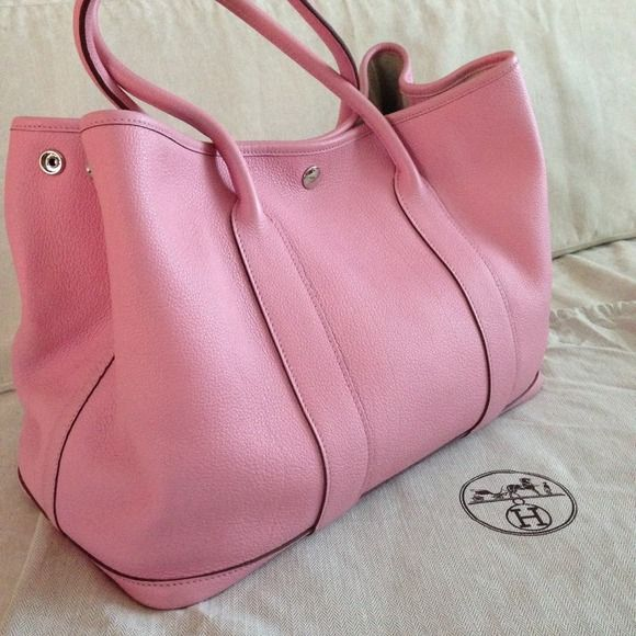 100% authentic Hermes Garden Party Sakura Pink bag Authentic Hermes Garden  Party tote bag, excellent condition, comes with dust bag. Leather with  canvas ... bf2d8e0b24