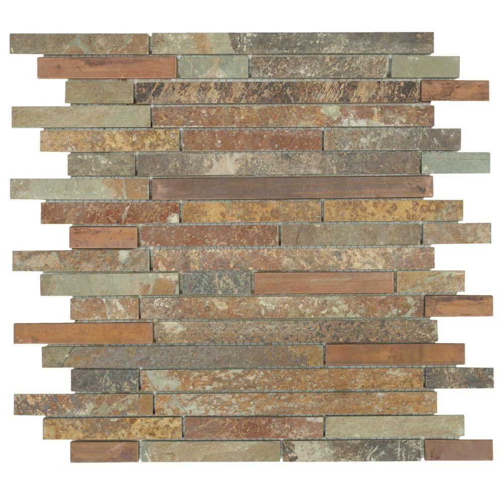 Kitchen Backsplash Uneven Wall jeffrey court satin copper 11.5 in. x 12 in. x 8 mm copper/slate