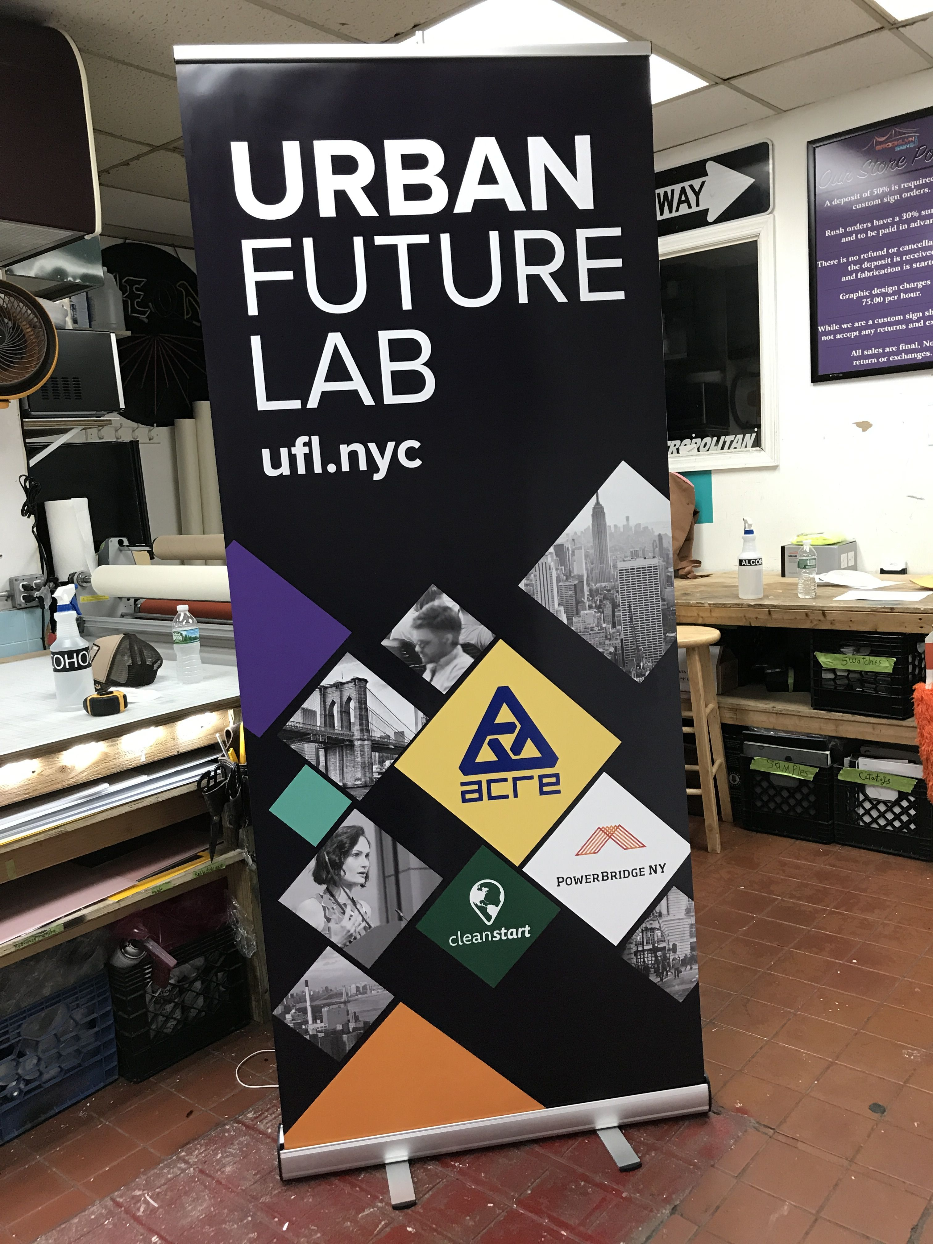 Banner Stands Are Great For Any Event Recently Printed This One For Ufl Nyc Branding Brand Marketi Vinyl Banner Printing Custom Vinyl Banners Banner Stands