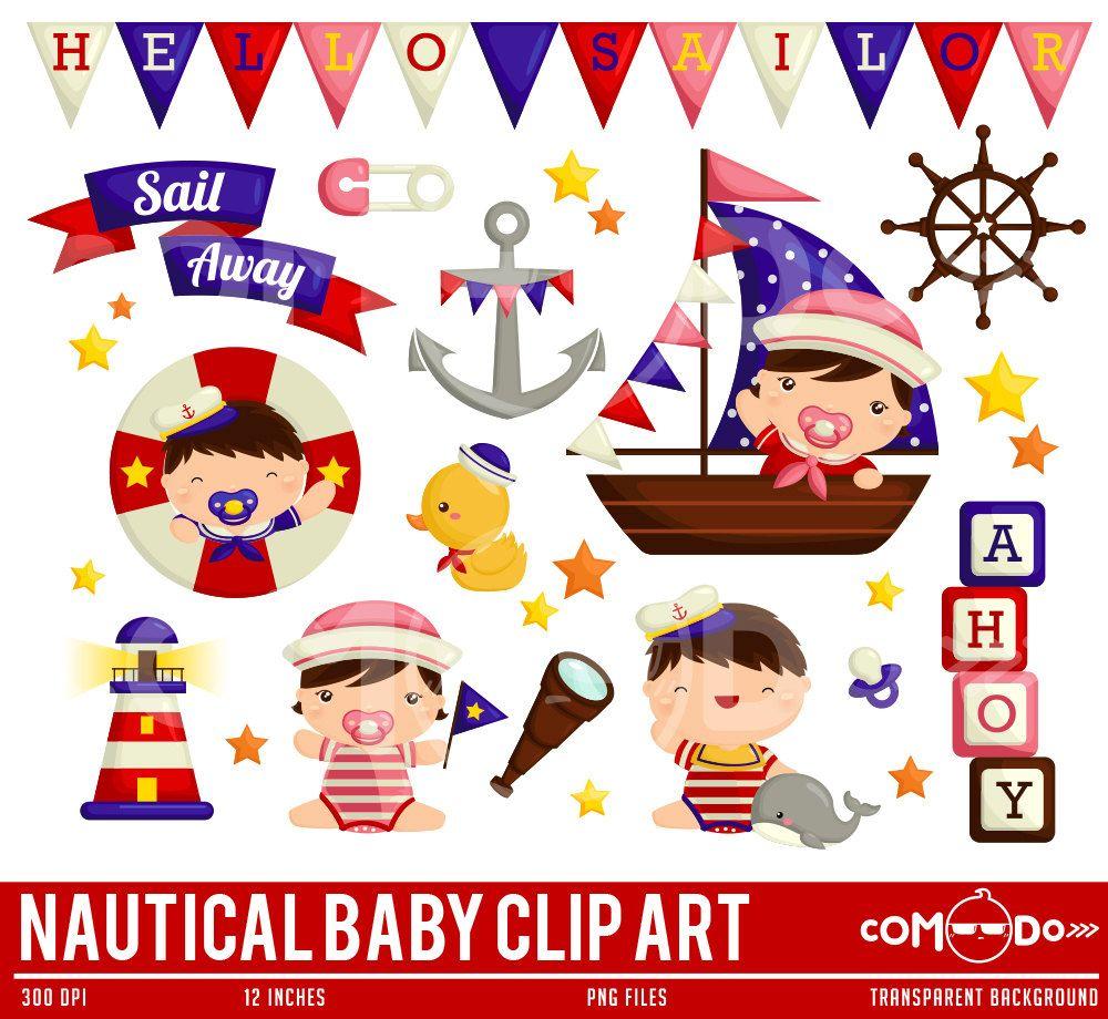 Baby Boy Sailing Clipart Sealife Clip Art Boat Clipart Etsy Baby Clip Art Cute Clipart Clip Art