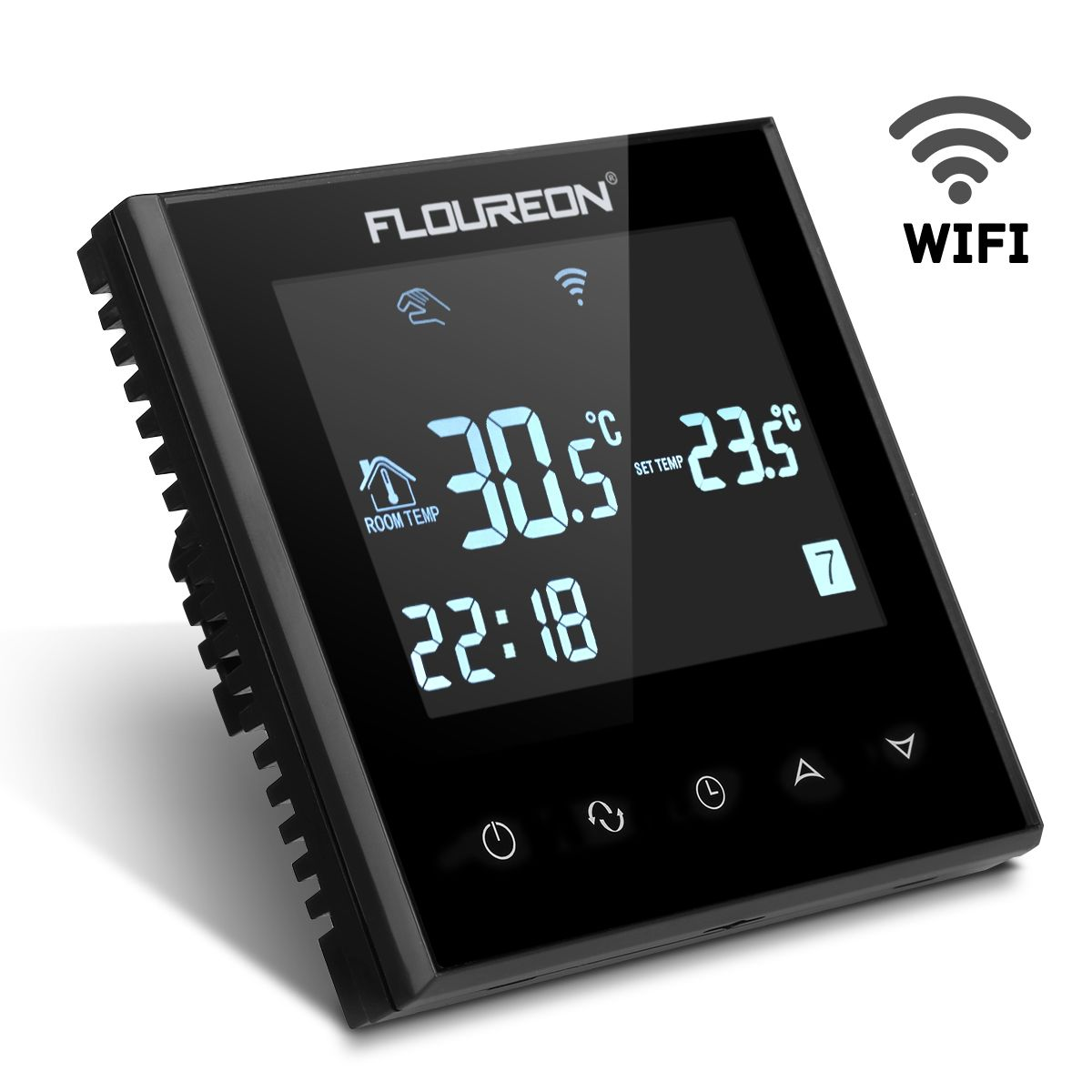 floureon hy03we4 smart wifi lcd touchscreen thermostat w chentliche programmierbare. Black Bedroom Furniture Sets. Home Design Ideas