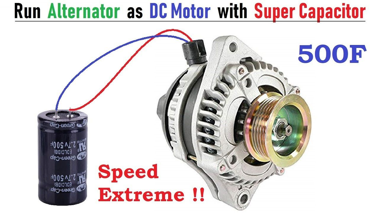 Run 12v 120 Amps Car Alternator As Brushless Dc Motor With 500f Super Ca Car Alternator Alternator Electric Motor For Car